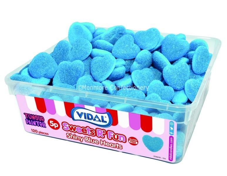 Shiny Blue Hearts Tub (Vidal) 120 Count