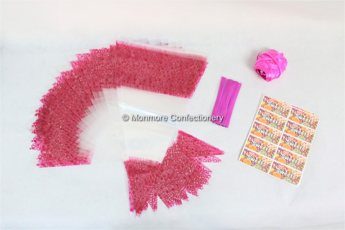 50 x Pink Decorated Cone Bags With Ribbon Ties & Stickers-wm