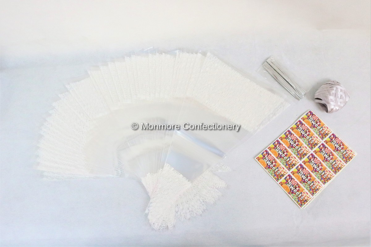50 x White Decorated Cone Bags With Ribbon Ties & Stickers-wm
