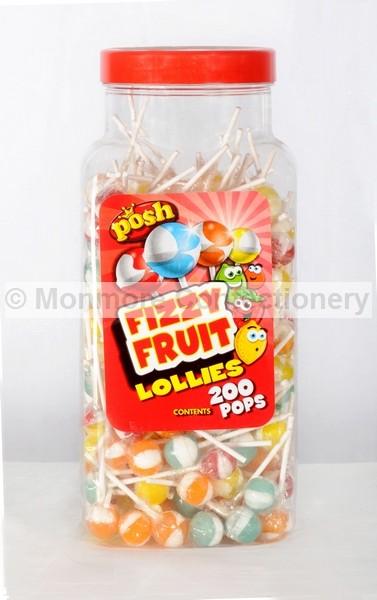 FIZZY FRUIT LOLLIPOPS (CRAWFORDS) 200 COUNT