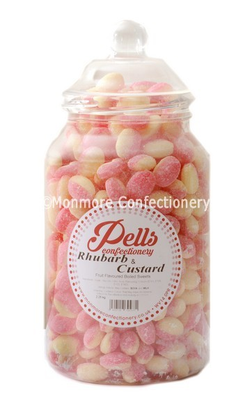 large traditional sweet jar containing rhubarb and custard