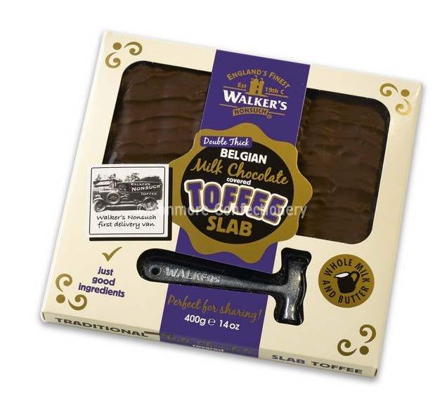 WALKERS NONSUCH MILK CHOCOLATE COVERED TOFFEE SLAB 400G.