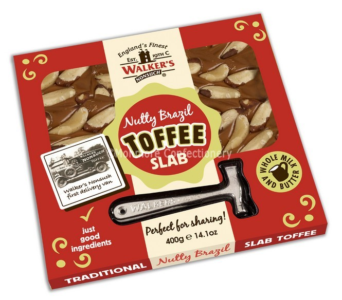 Walkers Nonsuch Original Nutty Brazil Toffee 400g Slab