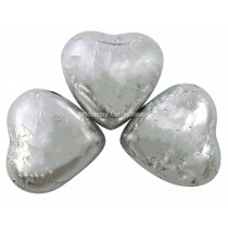 Silver Foiled Milk Chocolate Hearts (Kingsway) 1kg