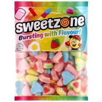 3D Sugared Hearts (Sweetzone) 1kg Bag