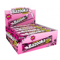 rasberry bazooka chew bars, blue chew bars, bazooka blue bars, chewy blue bars made by bazooka brands,