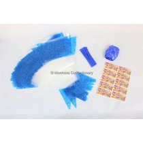 100 x Blue Decorated Cone Bags With Ribbon Ties & Stickers