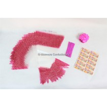 100 x Pink Decorated Cone Bags With Ribbon Ties & Stickers