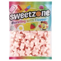 Sweetzone Fizzy Pink & White Stars 1kg Bag Halal HMC Sweets
