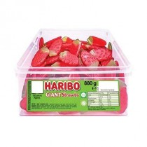 GIANT STRAWBERRIES TUB (HARIBO) 100 COUNT