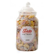 large traditional sweet jar containing jelly babies