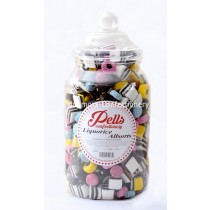 large traditional sweet jar containing liquorice allsorts