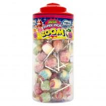 Vidal Mega Super Pica Zoom Bubblegum Filled Lollipops Full Tub Of 50 Lollies