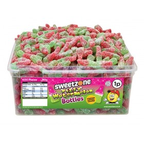 FIZZY WATERMELON BOTTLES TUB (SWEETZONE) 600 COUNT