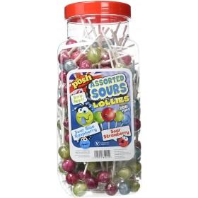 Assorted Sour Lollipops Jar (Posh) 200 Count