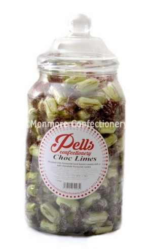Traditional sweet jar containing choc limes