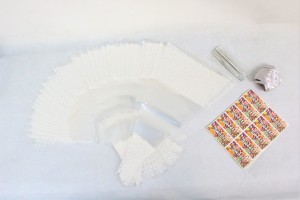 100 x White Decorated Cone Bags With Ribbon Ties & Stickers