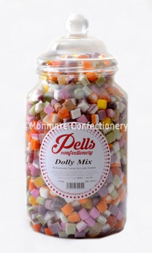 A traditional sweet jar containing dolly mixtures
