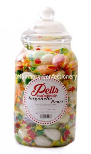 large traditional sweet jar containing jargonelle pear drops