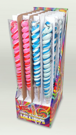 Kandy Kandy Strawberry & Bubblegum Tall Twister Lollies 24 x 80g