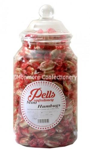 Pells sweet jar containing mint humbugs