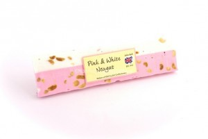 pink white peanut bar