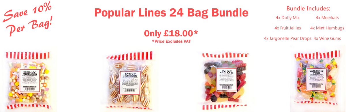 Monmore Confectionery Popular Lines Box of 24 Bag Bundle