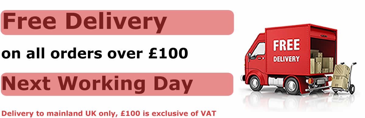 Free delivery on orders over £100. Delivery to mainland UK only £100 is exclusive of VAT